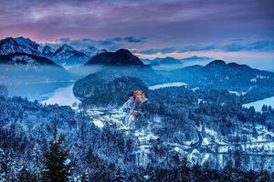 Бесплатные фото Германия,замок Хоэншвангау,Южная Бавария,Горы,Зима,дома,деревья
