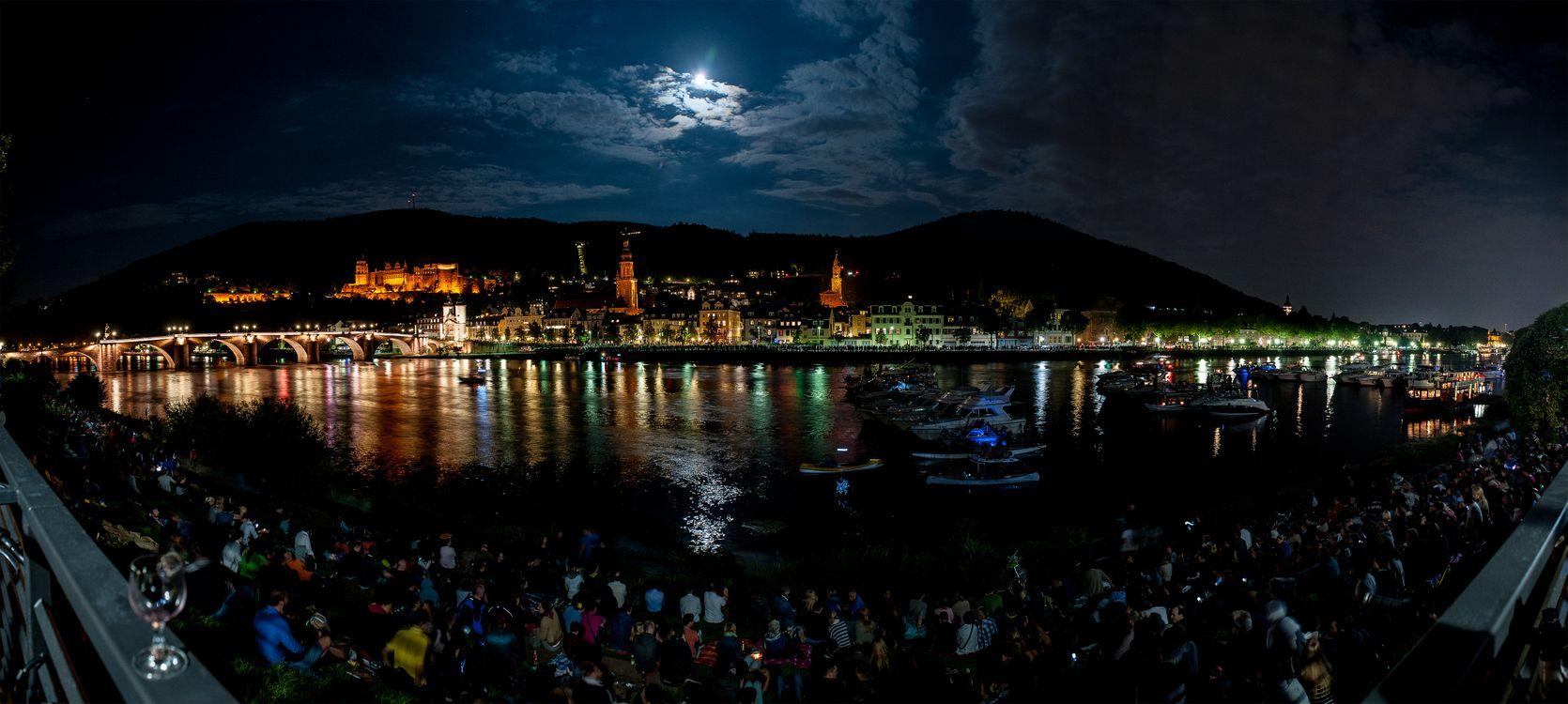 Фото бесплатно Heidelberg at night, лунная ночь, облака - на рабочий стол