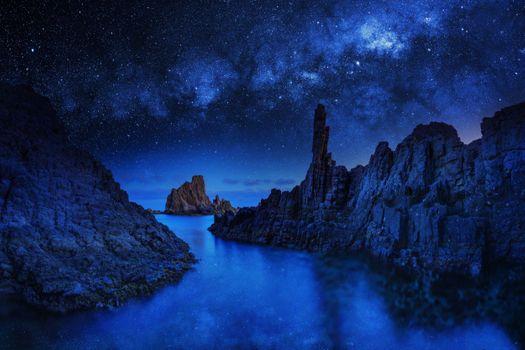Фото бесплатно океан, скалы, синее