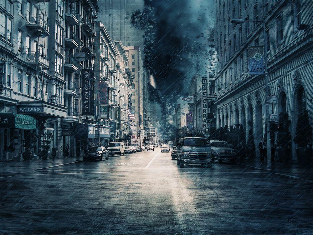 Фото бесплатно буря, погода, гроза, гром, облако, власть, опасности, природа, молния, ураган, катастрофы, город, улица, дома, автомобили, рендеринг