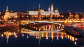 Бесплатные фото Москва,Россия,ночь,Москва-река,Московский Кремль,город,иллюминация