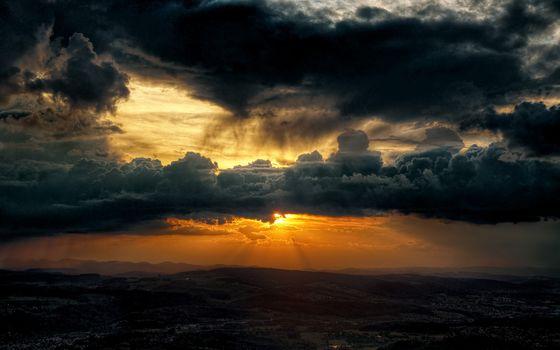 Заставки черные тучи, закат, облака