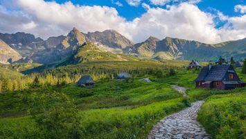 Фото бесплатно горы Татры, Польша, дома
