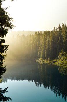 Бесплатные фото природа,лес,Naturidyll,туризм,туман,озеро,вода,отражение,дерево,доломит,Dolomiti,зеленый