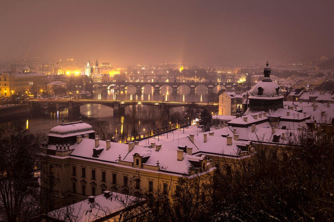 Фото бесплатно Прага, крыши домой, снег - на рабочий стол