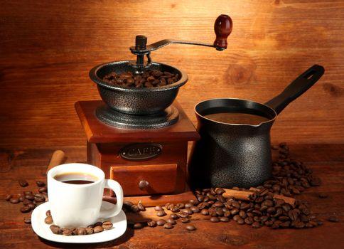 Coffee grinder and Turk · free photo