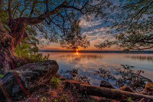 Фото бесплатно закат, озеро, сумерки