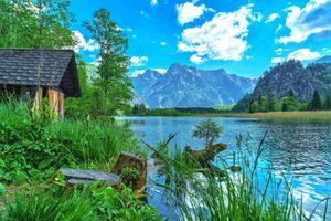 Фото бесплатно Альмзее, Almsee, Гмюнд, Австрия, озеро, река, водоём, домик, деревья, горы, вода, природа, пейзаж