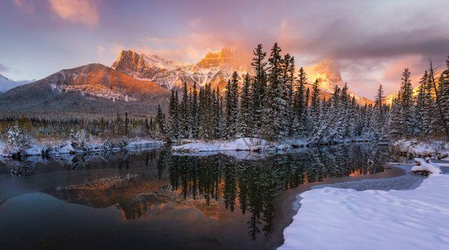 Бесплатные фото Canmore,Canada,Альберта,Канада,зима,закат,озеро,горы,деревья,пейзаж