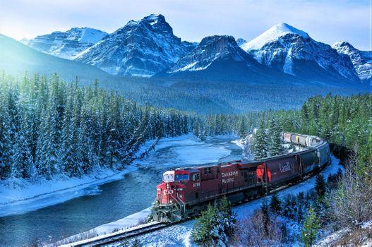 Фото бесплатно Train, mountains, snow