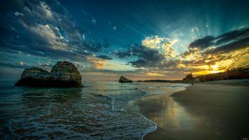 Фото бесплатно побережье, скалы, закат