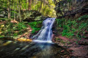 Бесплатные фото водопад,лес,скалы,деревья,поток,вода,течение