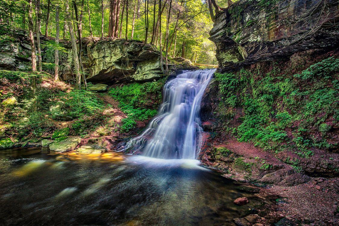 Обои водопад, водоток, скалы картинки на телефон