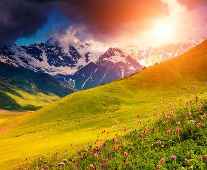 Photo free mountains, meadow, sunset