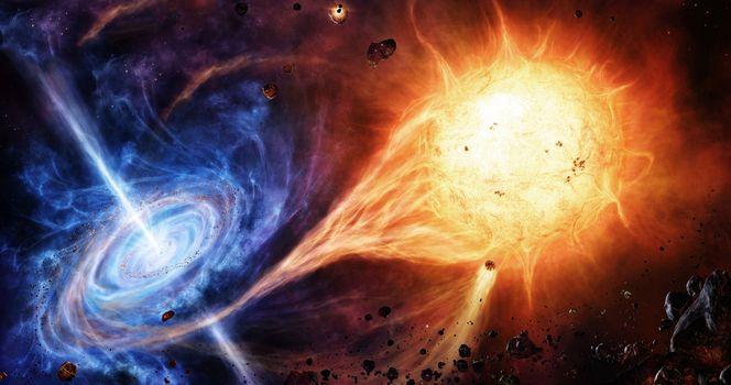Фото бесплатно галактика, звезда, черная дыра