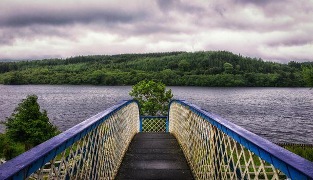 Бесплатные фото мост,река,деревья,небо,облачность
