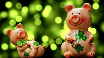 Фото бесплатно свинка, трава, цветы, символ года, свинки, привет Q