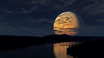 Фото бесплатно большая луна, гигантская луна, облака