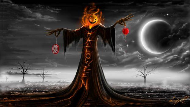 Фото бесплатно Хэллоуин, темная тема, тыквы