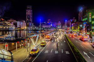 Заставки Ночной вид города Килунг,Тайвань,Килунг,город,ночь,иллюминация,ночные города