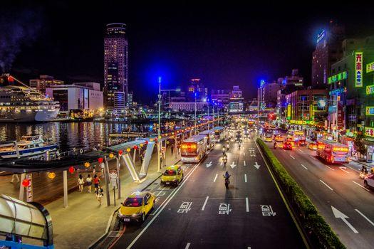 Фото бесплатно Ночной вид города Килунг, Тайвань, Килунг