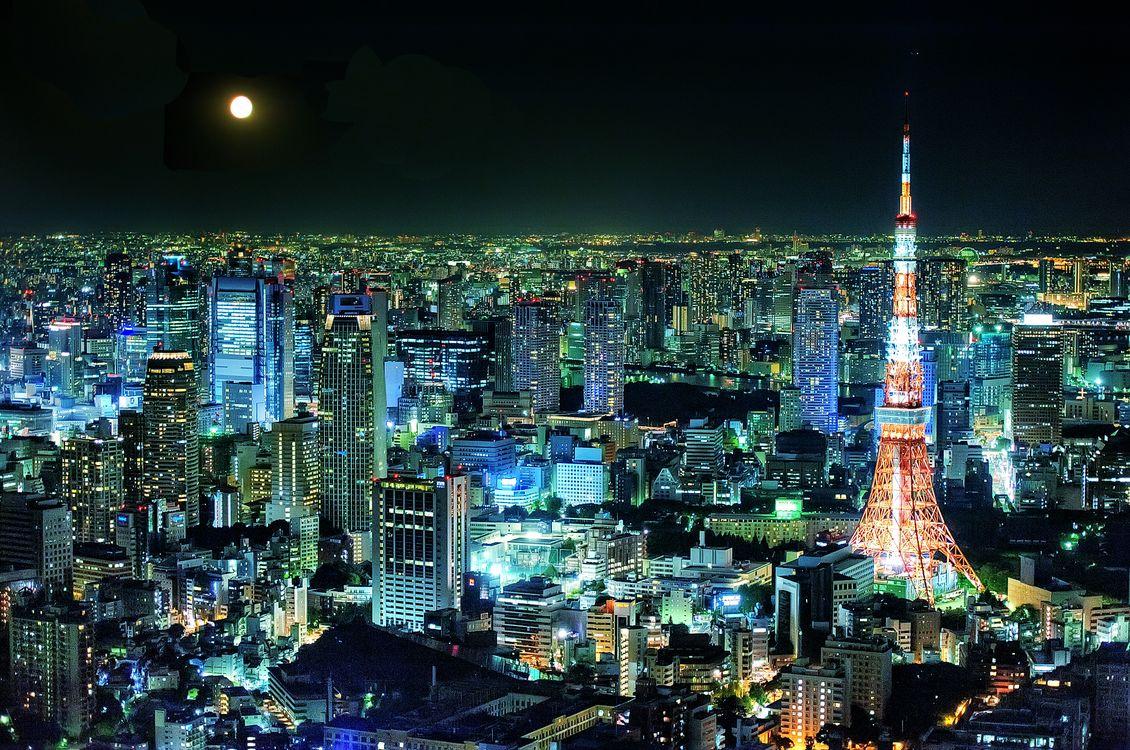 Обои Телевизионная башня, Токио, Япония, город, ночь, иллюминация, ночные города на телефон   картинки город