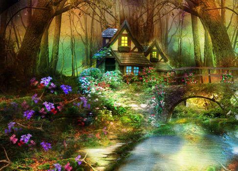 Фото бесплатно мост, фэнтези, цветы, лес, дом, природа, фантасмагория, деревья