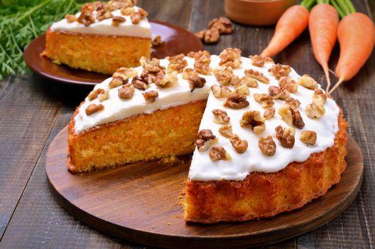 Фото бесплатно выпечка, пирог, морковь, крем
