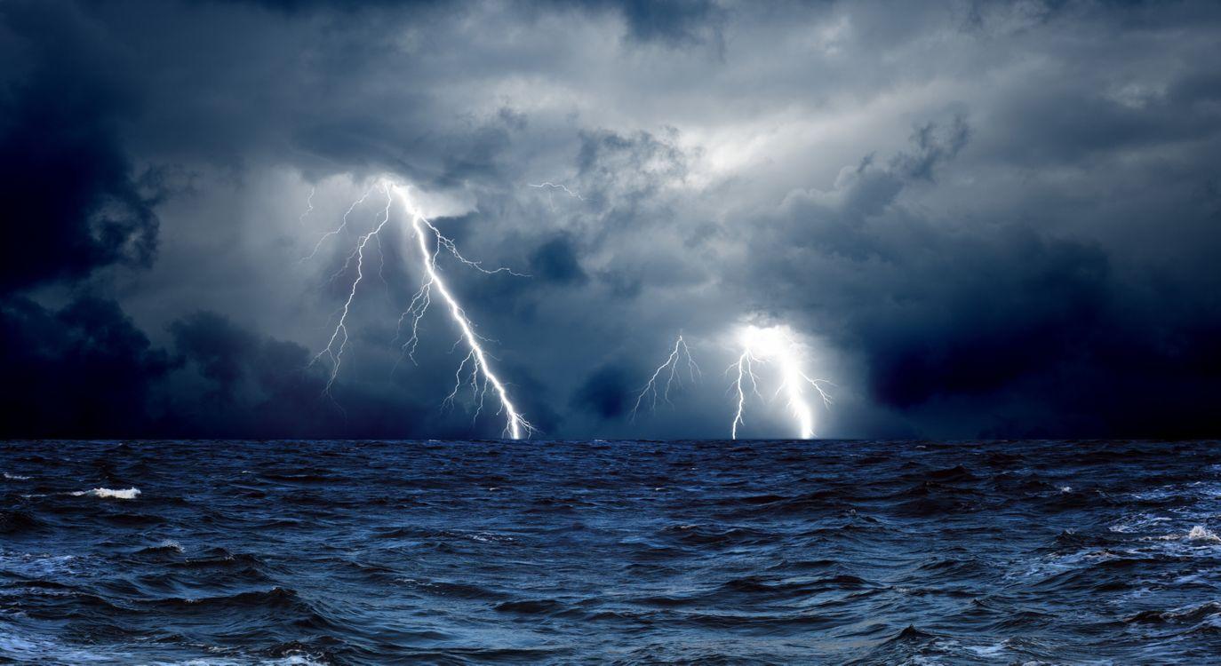 Фото бесплатно облака, молния, океан - на рабочий стол