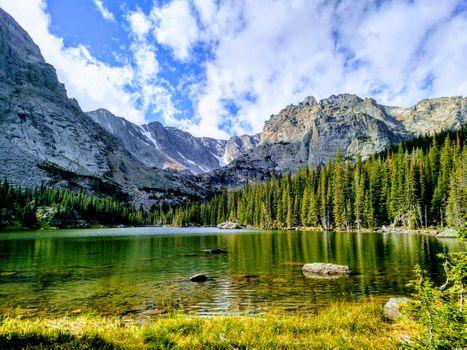 Бесплатные фото Лох - Эстес Парк,Колорадо,США,озеро,горы деревья,природа,пейзаж