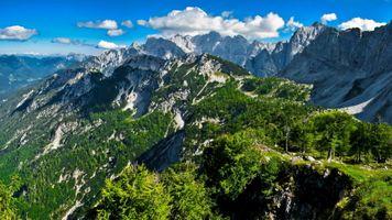Фото бесплатно режим HDR, горы, скалы, небо, склон, снег, лето