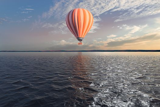Photo free hot air balloon, water, reflection