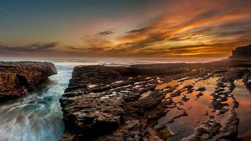 Бесплатные фото море,скалы,закат,волны,тучи,длительная экспозиция,горизонт