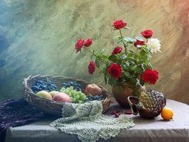 Фото бесплатно натюрморт, розы, букет