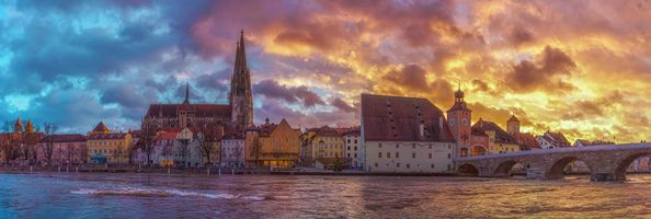 Бесплатные фото Регенсбург,Bavaria,Германия,небо,здание,закат солнца,вода