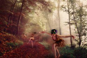 Бесплатные фото осенний маскарад,лес,деревья,осень,туман,лесная дорога,девушки