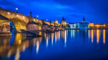 Фото бесплатно Чехия, ночные города, мосты