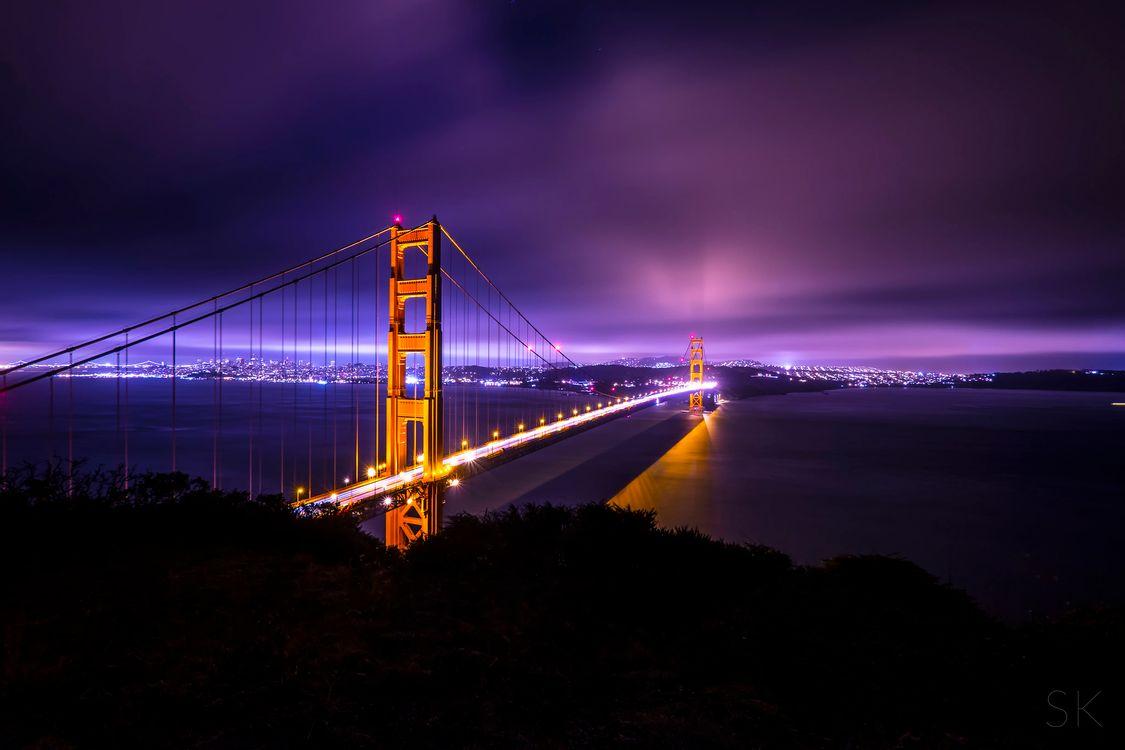 Мост Золотые Ворота в Сан-Франциско в ночи · бесплатное фото