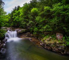 Фото бесплатно водопад, лес, скалы