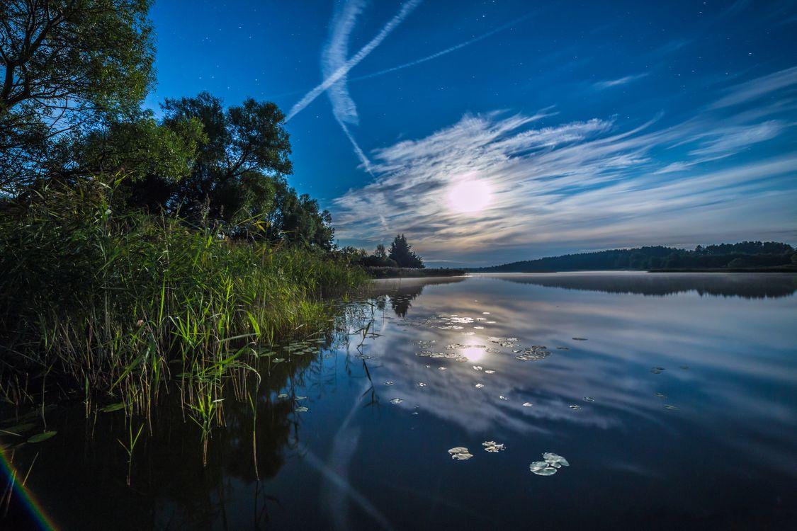 Фото бесплатно закат солнца, сумерки, река, небо, отражение, деревья, пейзаж, пейзажи