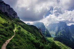 Фото бесплатно Альпы Швейцарии, Швейцария, Санкт-Галлен, Аппенцелль, горы, облака, небо, тропинка, озеро, пейзаж