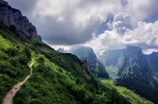 Бесплатные фото Альпы Швейцарии,Швейцария,Санкт-Галлен,Аппенцелль,горы,облака,небо,тропинка,озеро,пейзаж