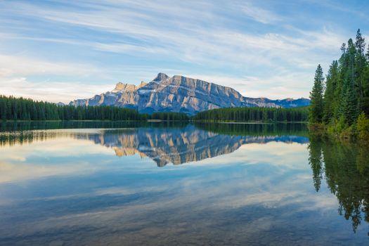 Бесплатные фото Национальный парк Банф,Two Jack Lake,Альберта,Канада