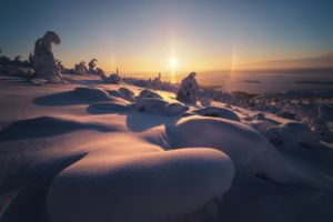 Солнечное гало над Белым морем · бесплатное фото