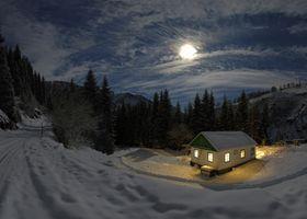 Бесплатные фото ночь,луна,лунный свет,снег,деревья,сугробы,небо