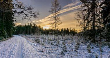 Фото бесплатно закат, снег, дорога