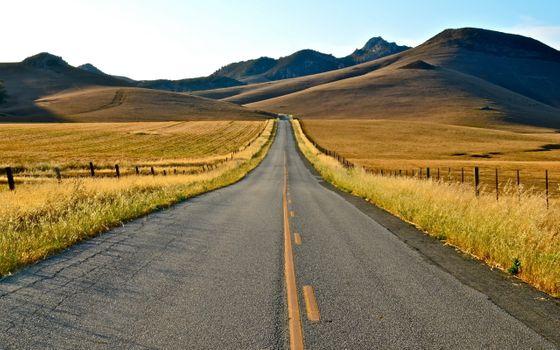 Фото бесплатно трасса, горы, трава