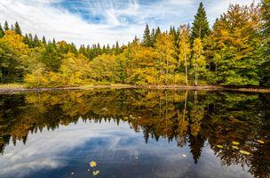 Заставки озеро, пейзаж, цвета осени