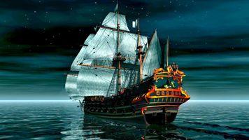Photo free sailing ship, sea, moon light