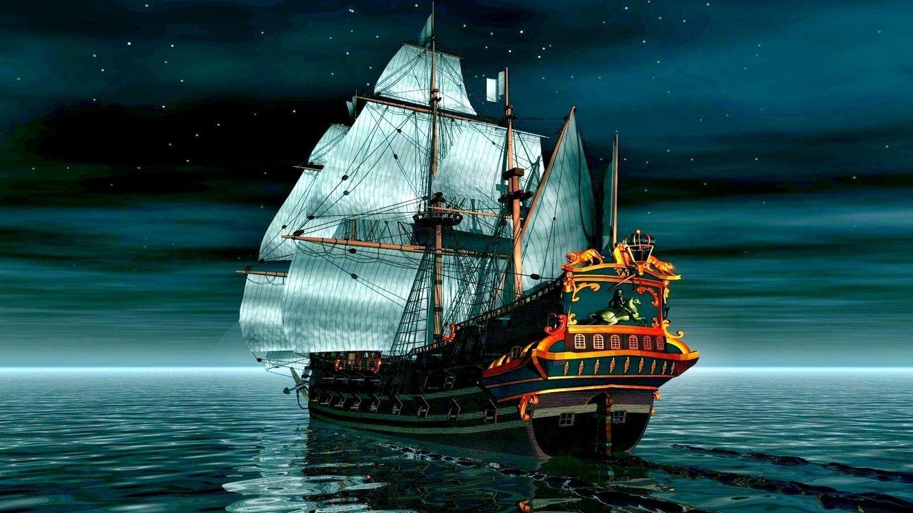 Фото бесплатно парусное судно, море, лунные лучи, ночь, цифровое искусство, корабли